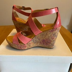 Kork hot pink strappy wedge sandal